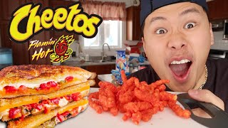 ASMR Mukbang Flamin' Hot Grilled Cheese (Eating Show) WITH REAL SOUNDS!!!!
