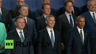 Poland: Leaders pose for group photo, as Warsaw NATO Summit kicks off(State and government leaders alongside NATO officials posed for a group photo at the Warsaw NATO Summit on Friday; among them were US President Barack ..., 2016-07-08T15:30:55.000Z)