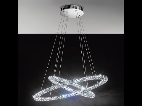 Lampadari Moderni Eleganti.Lampadario A Sospensione Elegante E Moderno A Luce Led Anelli Di Cristallo Modello Eglo Toneria