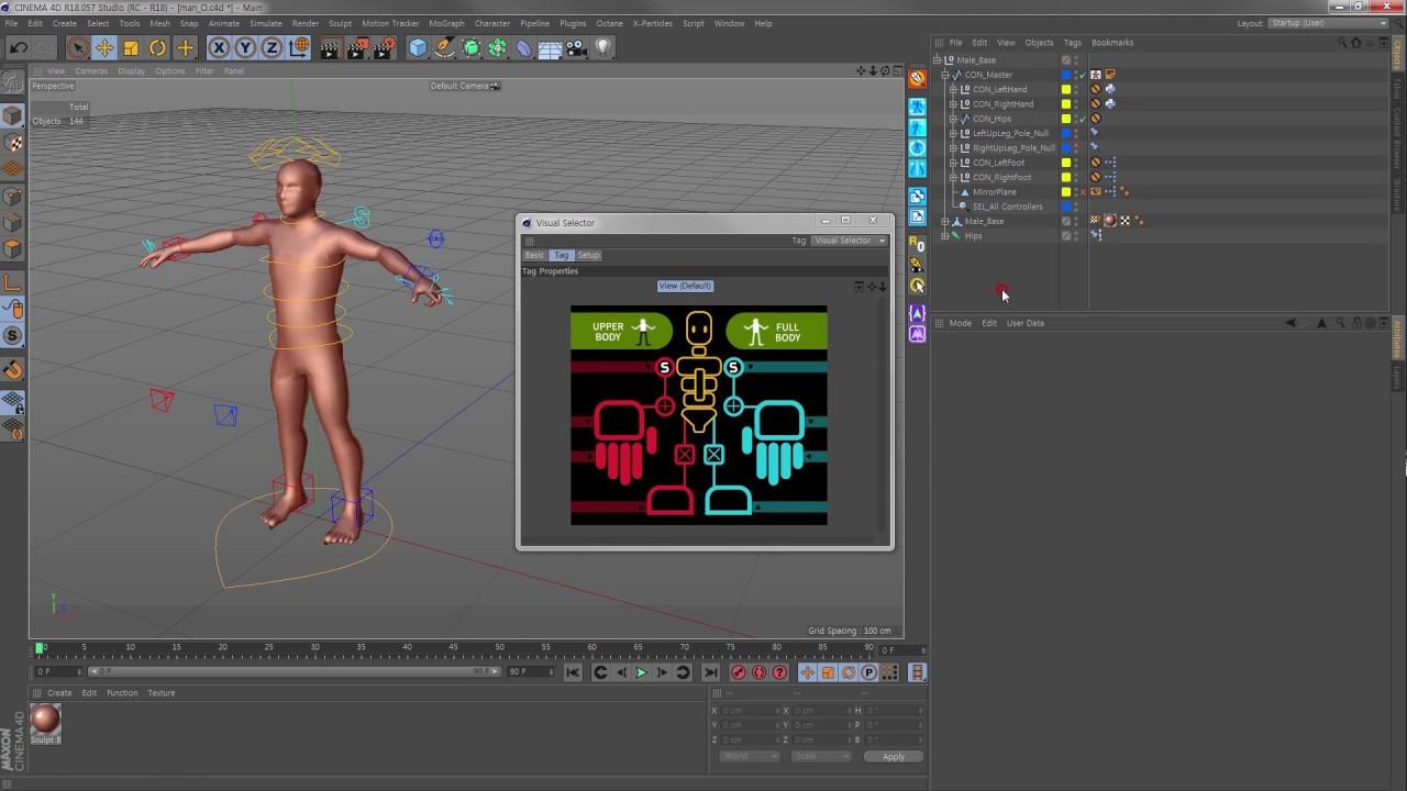 'Cinema4D Mixamo Controller Set' Tutorial - 4  Controller 사용법