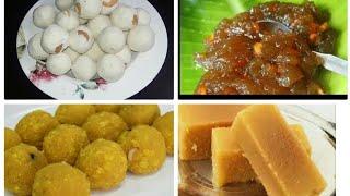 4 விதமான ஈஸி தீபாவளி ஸ்வீட்ஸ்   DIWALI SWEET RECIPES    Rava laadu   Mysore pak   instant Halwa   