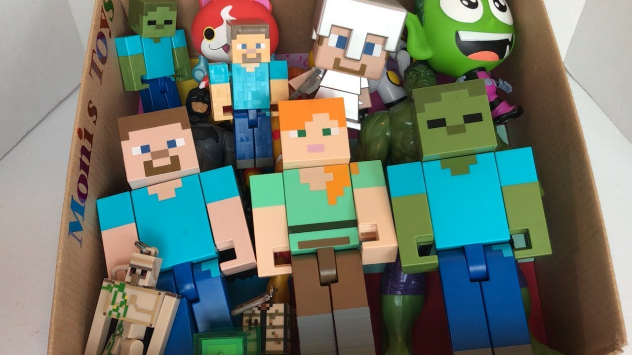 Minecraft Toys / Box of Minecaft Toys / Alex / Steve / Zombie / Juguetes de  Minecraft