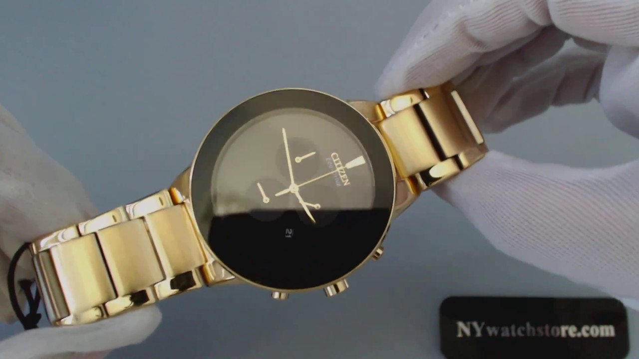 31c5d56af Men's Gold Tone Citizen Eco Drive Axiom Chronograph Watch AT2242 55E ...