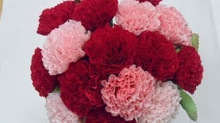 [Paper flower/종이꽃] 4. 주름지 카네이션 how to make crepe paper Carnation flowers, mothers day gifts