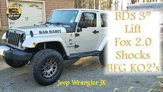 "Jeep Wrangler JK BDS 3"" Lift Kit, JKS Track Bar, Fox 2.0 Shocks, AEV Geometry Brackets and BFG KO2's"