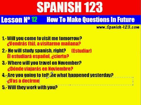 Class 12. How to Make Questions in Future in Spanish. - YouTube