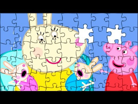 Peppa Pig Puzzle For Kids😝Robbie & Rosie Rabbit Jigsaw Puzzle. Video For Children. Peppa Smart Game