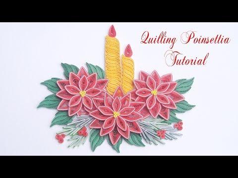 Quilling Poinsettia Flower V4 | DIY Paper Poinsettia Christmas Decoration