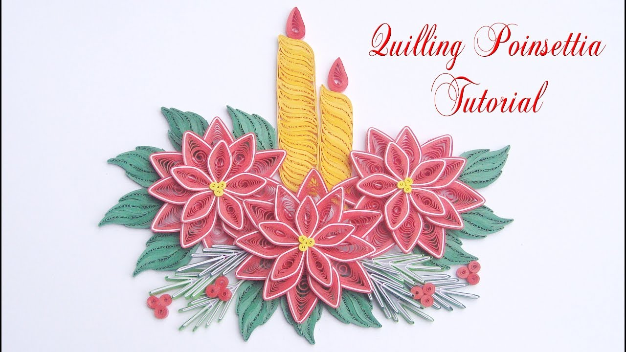 quilling poinsettia flower v4 diy paper poinsettia christmas decoration
