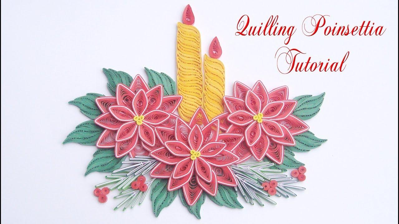 quilling poinsettia flower v4 diy paper poinsettia christmas decoration