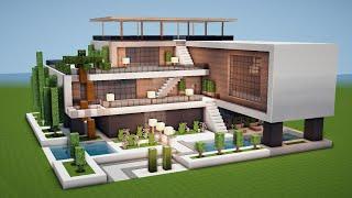 Grosses Modernes Minecraft Haus Mit Pool Bauen Tutorial Haus 200 Youtube