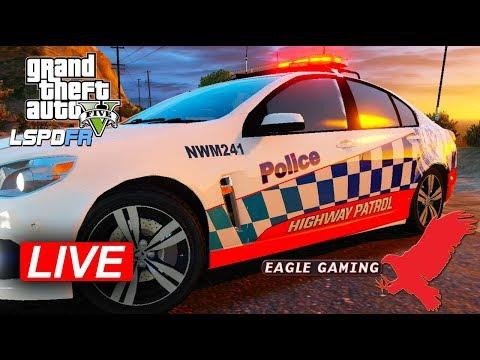GTA V   LSPDFR Live!   US Route 1 Patrol in NSW Highway Patrol Holden VF SS