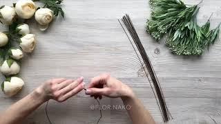 Как сделать венок из искусственных цветов своими руками.