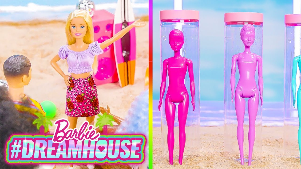 @Barbie | BEACH PARTY with the COLOR REVEAL FOAM DOLLS! | #Dreamhouse REMIX