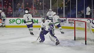 Goalie Michael Leighton of the Utica Comets warms up prior to his 500th AHL game 3/9/19