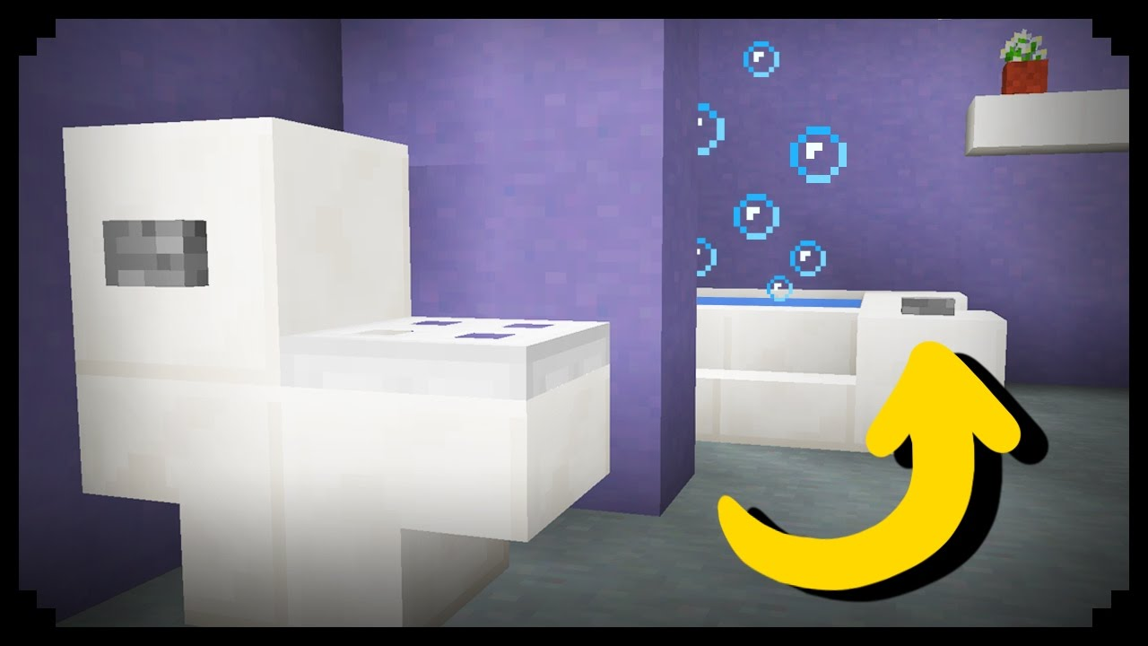Minecraft how to make a working bathroom youtube for Bathroom designs minecraft