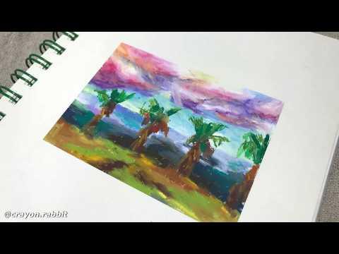 오일파스텔 🌴제주도 여행 드로잉 ❤️ Landscape Painting with Oil Pastel  / 크레파스 쉬운 풍경화 그리기
