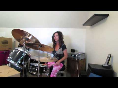 The Outfield Talk to me ~ Drum Cover by Denise (side view)