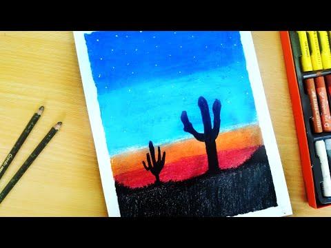 how to draw scenery of desert - Myhiton