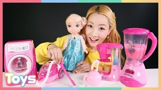 엘리의 겨울왕국 커피 메이커와 청소세트 장난감 소꿉놀이…