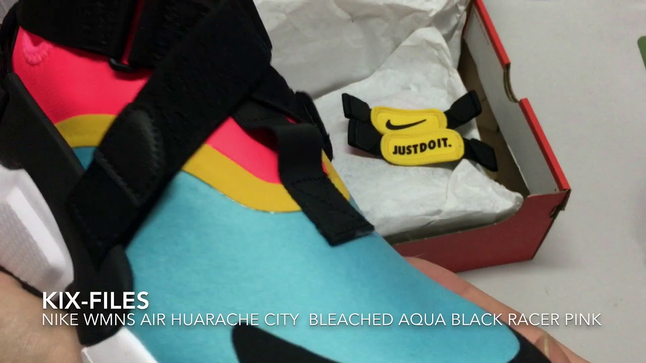 new style c5e24 fc771 開箱:Unwrapping Nike WMNS Air Huarache City Bleached Aqua Black Racer Pink
