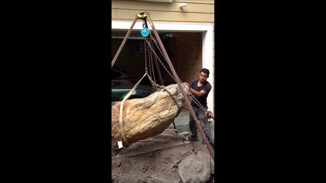 Moving A Large Boulder With No Heavy Equipment Youtube