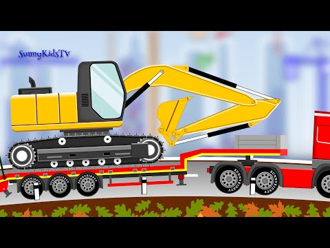 Vehicles For Kids - Excavator. Dump Truck - Cartoon.