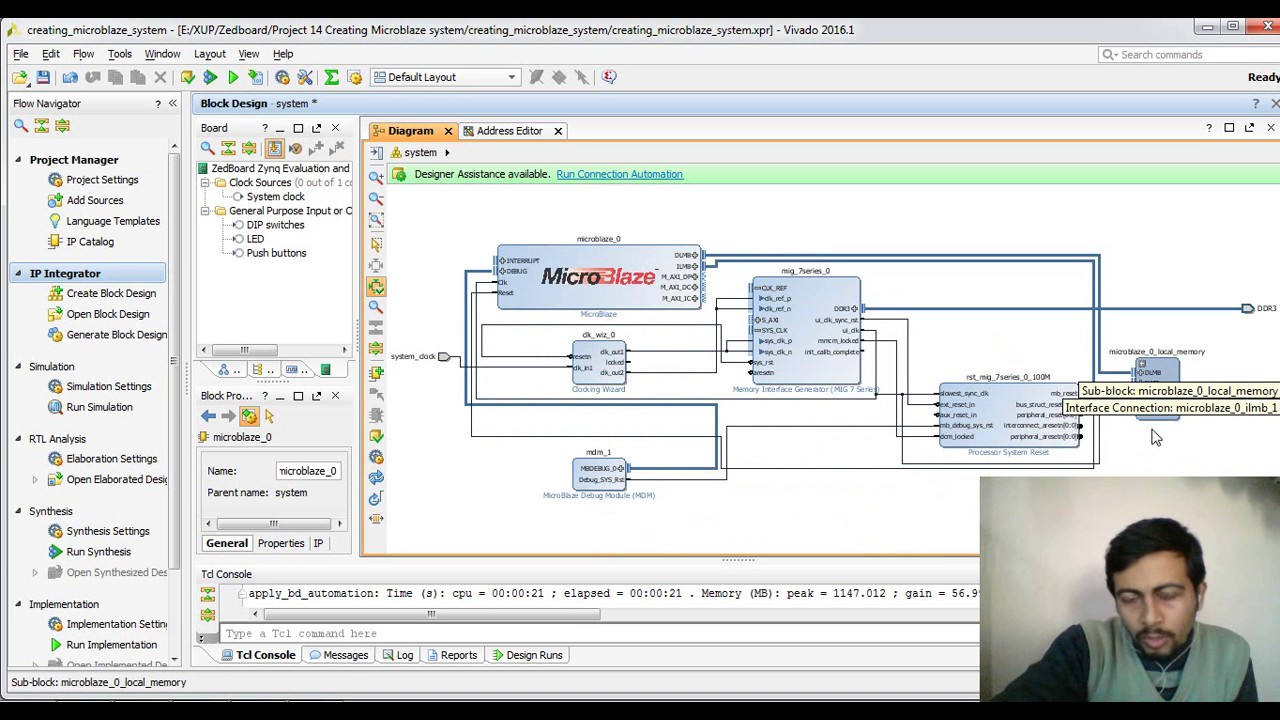 Getting Started with Microblaze in VIVADO IPI for Zynq : Zedboard FPGA