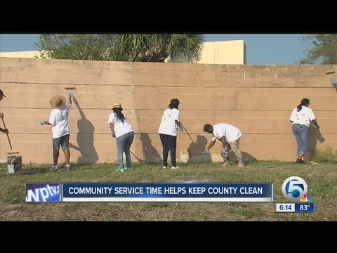 Young people serving community service hours help keep graffiti cleaned off county walls