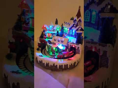 Light up musical  village  scene