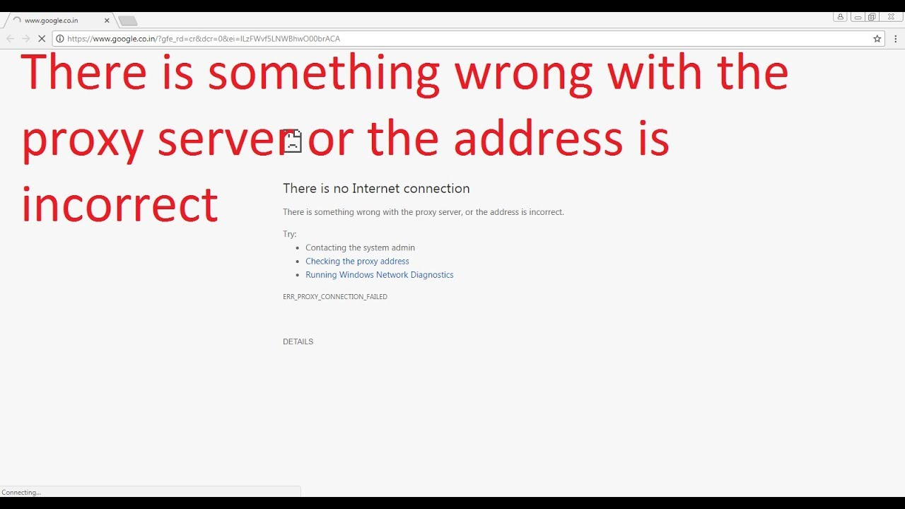 There is something wrong with the proxy server or the address is