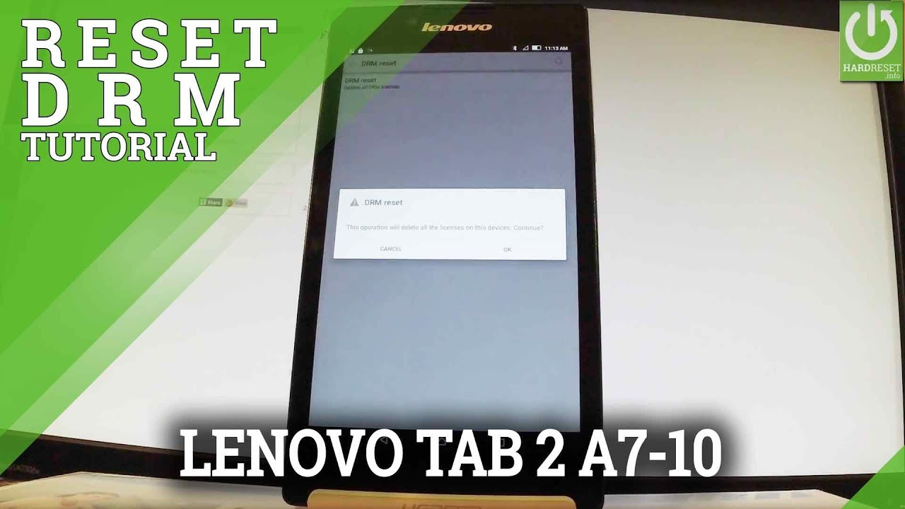 How to Reset DRM in LENOVO Tab 2 A7-10 - Restore DRM License