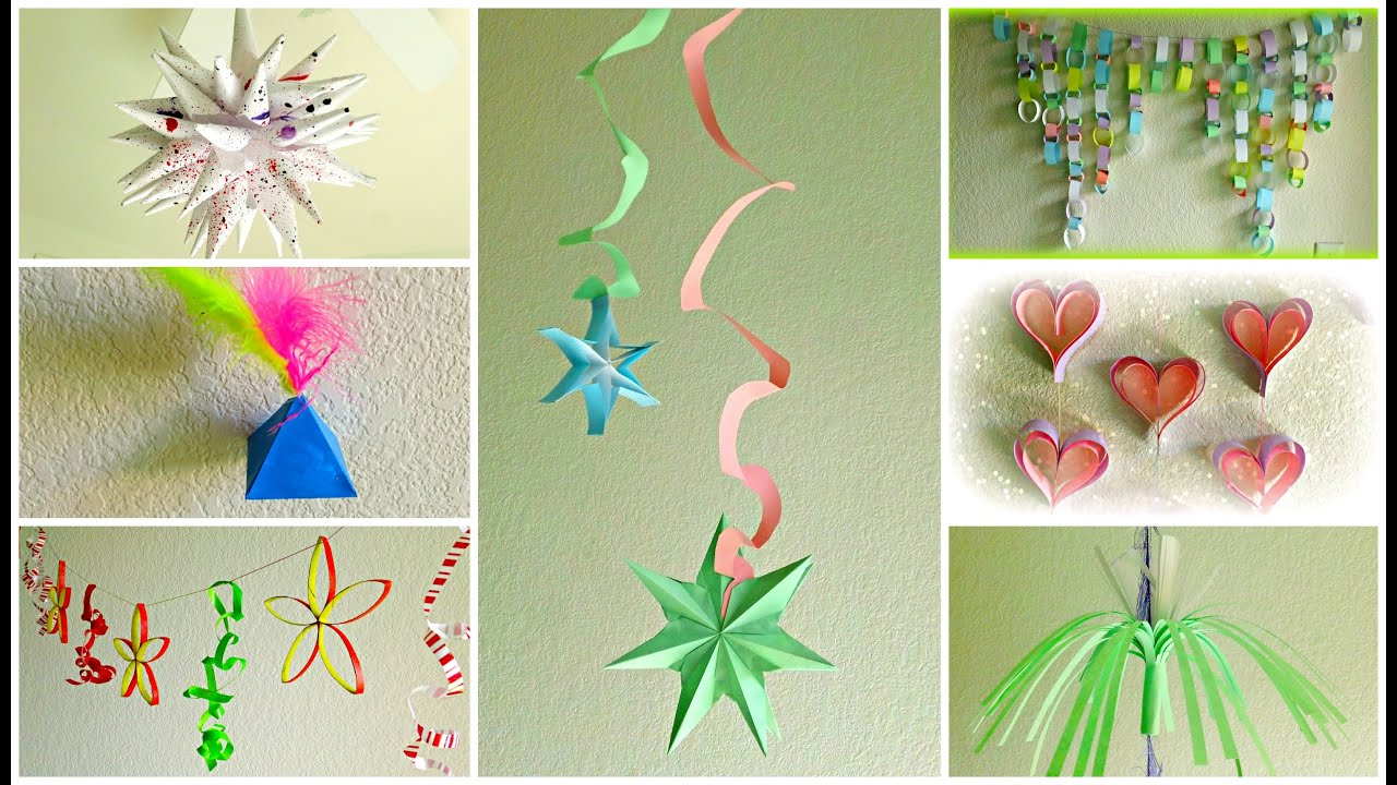 Diy paper garlands and decorations youtube - Paper decorations for room ...