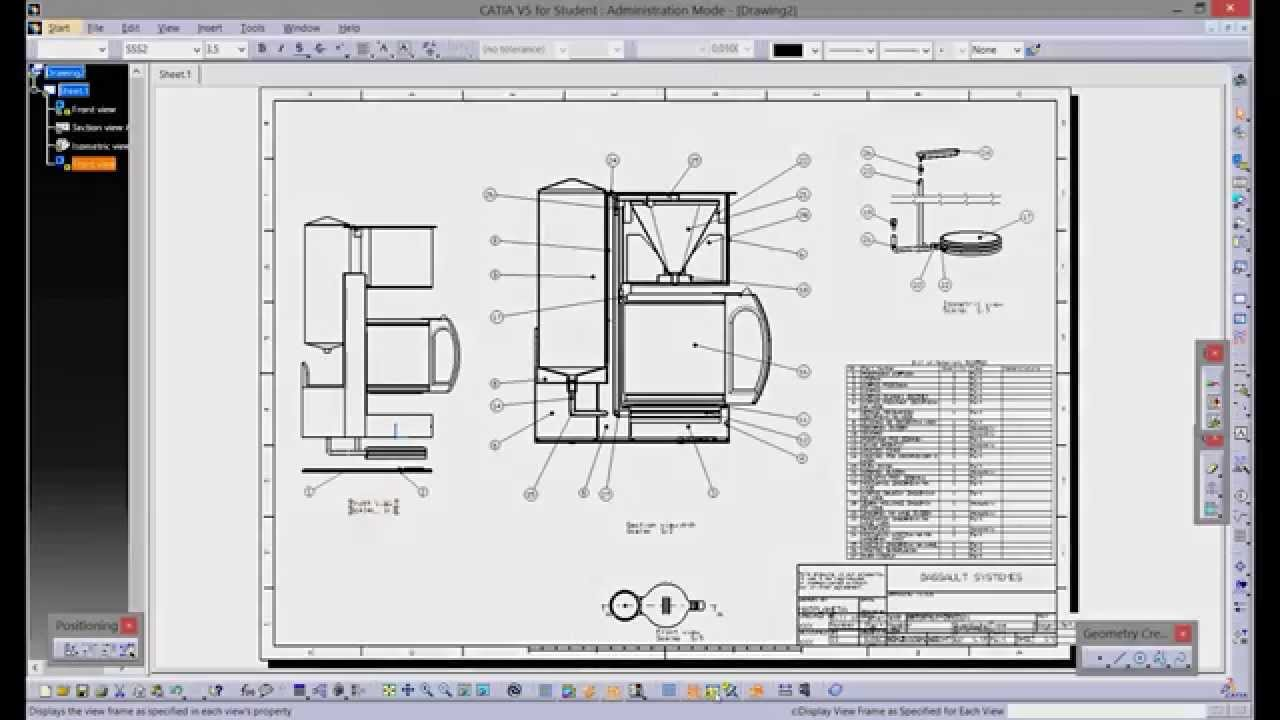 Catia V5 Assembly Drafting Youtube