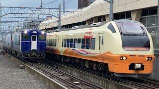 【並走バトル!!】E653系特急いなほとキハ40系柳都Shu*kura号の同時入線シーン