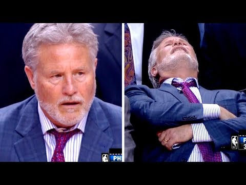 76ers coach funny faces during blowout vs Raptors in Game 5