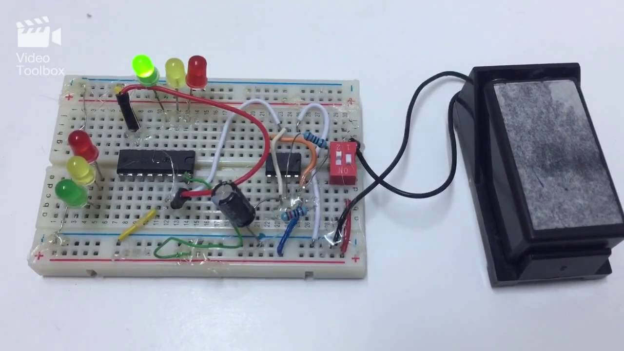 Traffic Light Using 555 Timer And Bc4017 Four Way Signal Project Ic