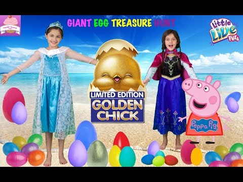 FROZEN Elsa Anna TOY SURPRISE EGG HUNT at the Beach Peppa Pig,Little Live Pets, Sofia The First Toys