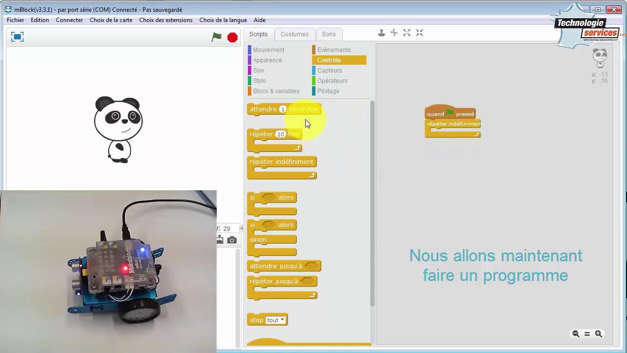 Utiliser le mode Connecté du robot mBot dans mBlock