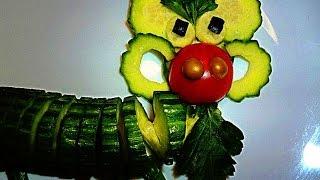 Барашек из огурца! Украшения из овощей! Lamb of cucumber! Decoration of vegetables!