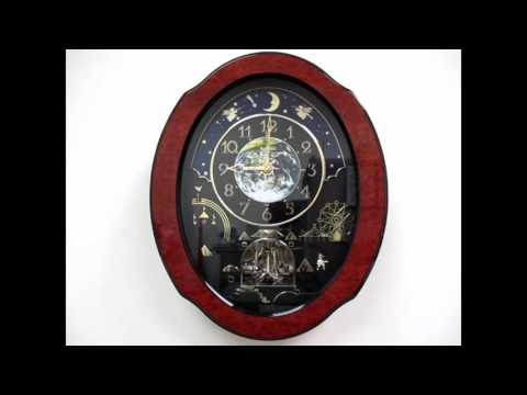Rhythm Timecracker Cosmos Magic Motion Musical Wall Clock - Wood Frame