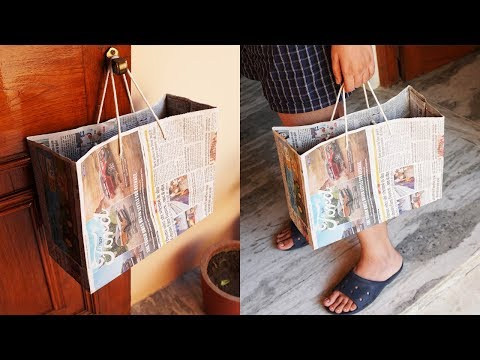 How To Make Paper Bag with Newspaper - Paper Bag Making Tutorial (Very Easy)