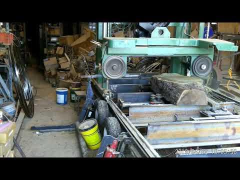 Homemade sawmill 2019 April 2 walnut burl log