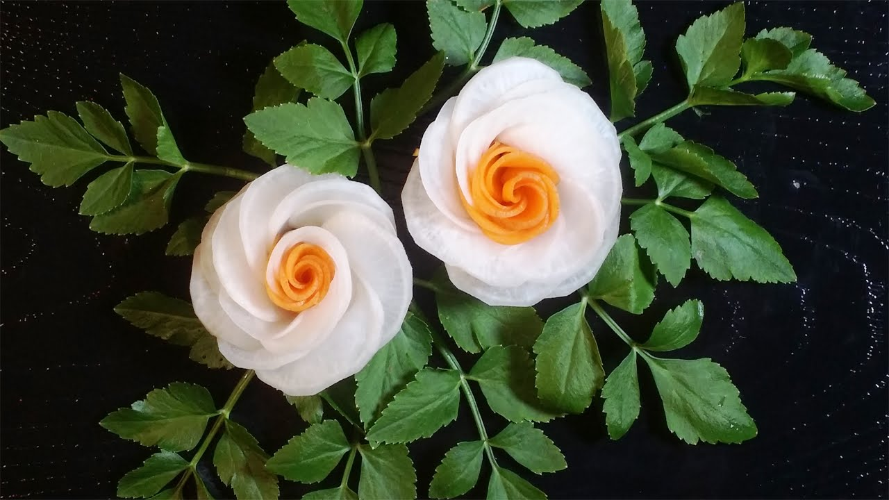 Art In Radish Flowers Vegetable Carving Flower Roses Garnish