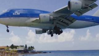 INSANE Very LOW Landing KLM 747 !!!... at Maho Beach Sint Maarten St Martin Sxm Caribbean island