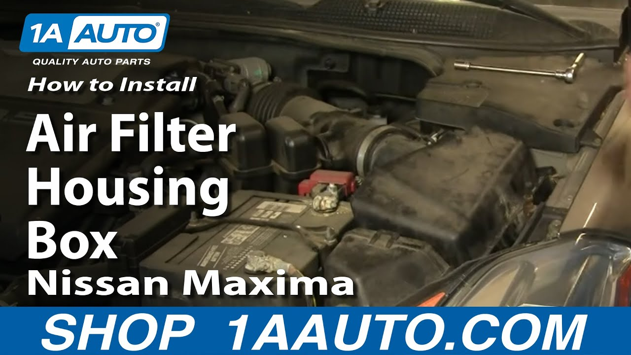 how to install replace air filter housing box nissan maxima 04 06 1aauto com youtube [ 1920 x 1080 Pixel ]