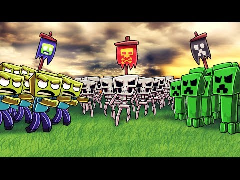 Minecraft | ZOMBIE ARMY VS CREEPER ARMY VS SKELETON ARMY! (Massive Mob Battles)
