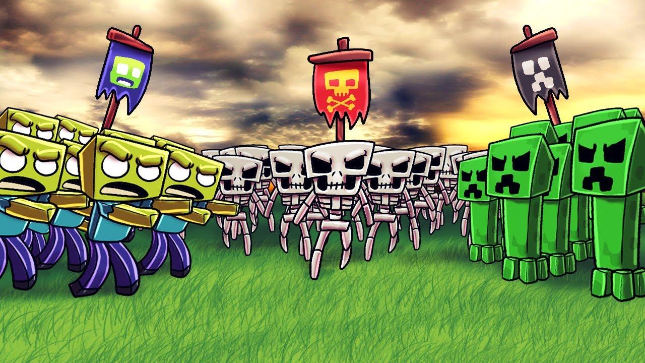 Minecraft zombie army vs creeper army vs skeleton army - Minecraft zombie vs creeper ...