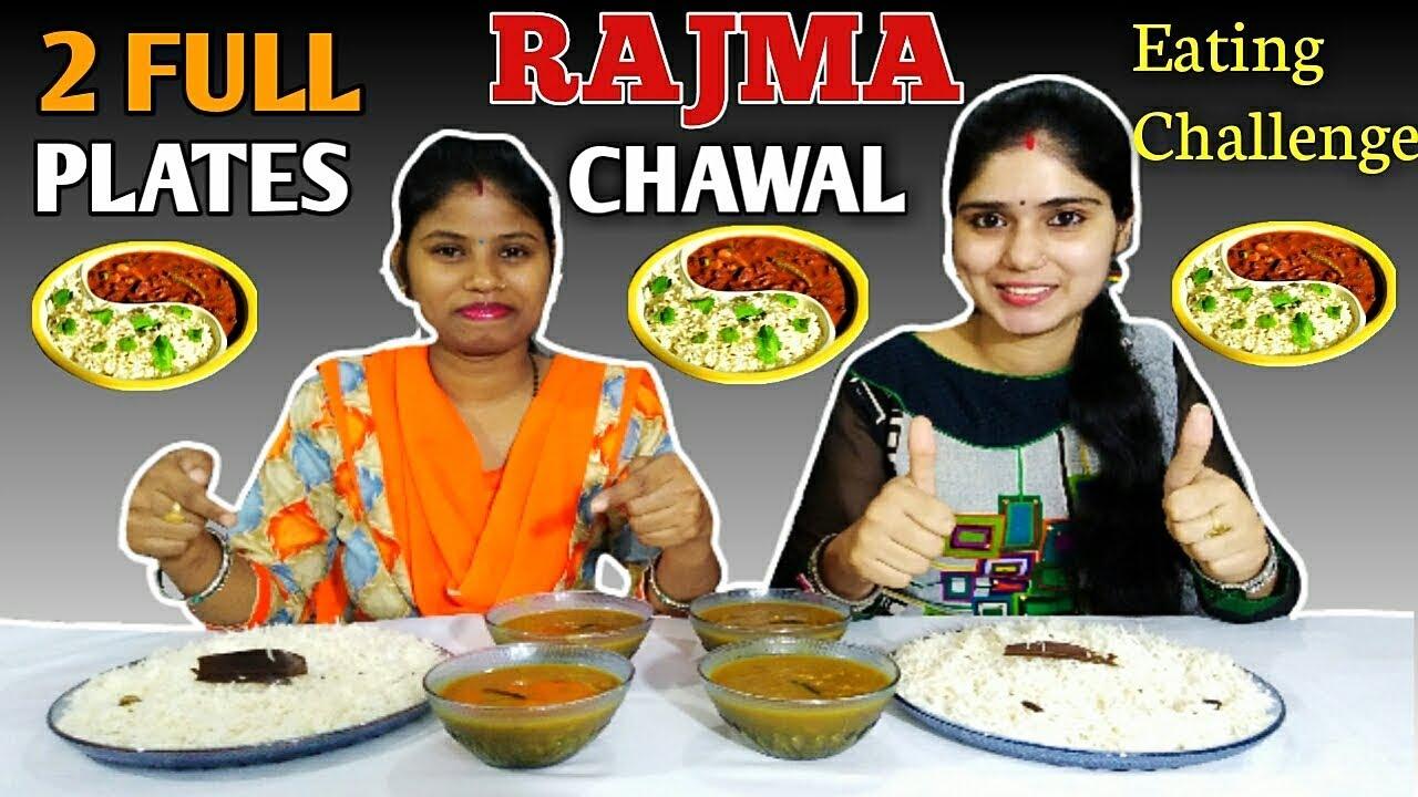 2 FULL PLATES RAJMA CHAWAL EATING CHALLENGE   Rajma Chawal Competition   Food Challenge India
