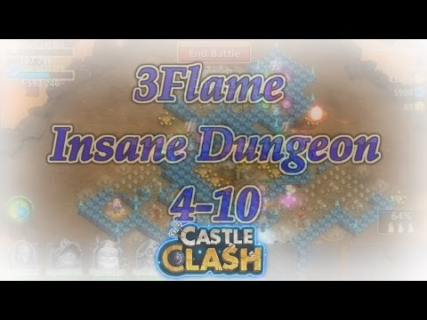Castle Clash 3flame Insane Dungeon 4-10 For MvpCC (F2P)